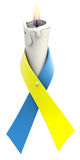 Blue yellow ribbon candle Stock Image