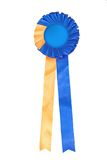 Blue and yellow ribbon rosette Royalty Free Stock Photography