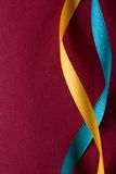 Blue and yellow ribbons Royalty Free Stock Images