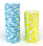 Blue and yellow roulette chips Stock Photo
