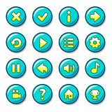 Blue and yellow round button vector illustration
