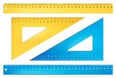 Blue and yellow rulers Stock Image
