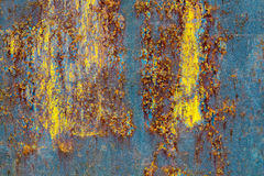 Blue yellow rust texture. Beautiful seamless blue and yellow painted abstract texture. Metallic rusted background Stock Images