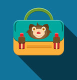 Blue, yellow schoolbag with bear Stock Image