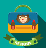 Blue, yellow schoolbag with bear and text school Stock Image