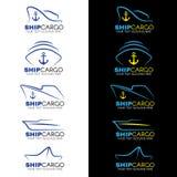 Blue and yellow Ship cargo logo vector design Stock Photos