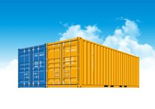 Shipping Cargo Containers for Logistics and Transportation. Blue and yellow Shipping Cargo Containers for Logistics and Transportation. Perspective view Royalty Free Stock Image