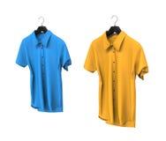 Blue and yellow short sleeve shirts Royalty Free Stock Photo