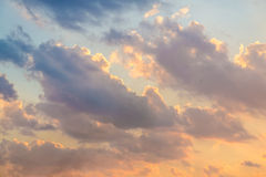Blue and yellow sky in twilight sunset Stock Photography