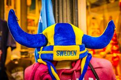 Swedish Tourist Hat, Stockholm, Sweden. A Blue and yellow soft horned Swedish hat Royalty Free Stock Photography