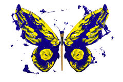 Blue and yellow splash paint made butterfly Royalty Free Stock Photo