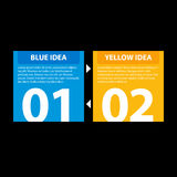 Blue and yellow square banners with arrows from one to the other, showing the cyclic relationship between the two ideas.  Stock Photography