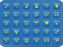 Blue and yellow square buttons. Blue and yellow web buttons with various signs and symbols on them Royalty Free Stock Image