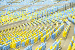 Blue and Yellow Stadium Seating Rio Brazil Stock Photos