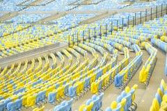 Blue and Yellow Stadium Seating Rio Brazil Stock Photos