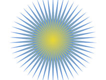 Blue and yellow sun vector illustration