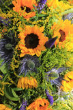 Blue and yellow Sunflower arrangement, Wedding decorations Royalty Free Stock Photos