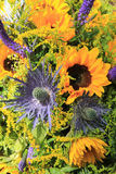 Blue and yellow Sunflower arrangement, Wedding decorations Royalty Free Stock Image