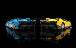 Blue and yellow supercars Royalty Free Stock Photo