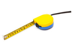 Blue and yellow tape-measure Royalty Free Stock Images