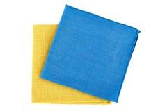 Blue and yellow textile napkins on white Royalty Free Stock Image