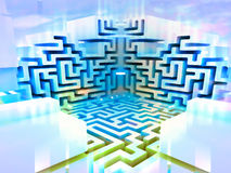 Blue white three dimensional maze structure Stock Images