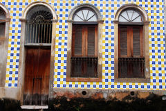Blue and Yellow Tile Facade Royalty Free Stock Photos