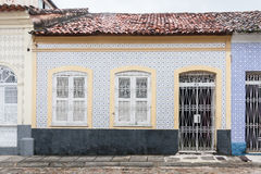 Blue and Yellow Tile Facade Royalty Free Stock Photo