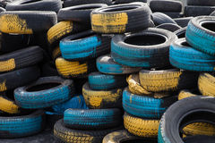 Blue and yellow tires Stock Photo