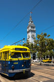 The blue yellow tram in San Francisco stock images