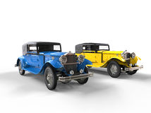Blue and yellow vintage cars Stock Image