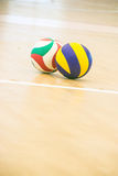 Blue and yellow volleyball Royalty Free Stock Image