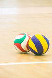 Blue and yellow volleyball Stock Images