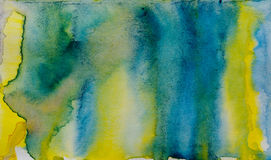 Blue yellow watercolor abstraction Royalty Free Stock Photo