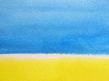 Blue & Yellow Watercolor Background 3 Stock Photo