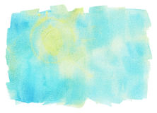 Blue and yellow watercolor background, design element Stock Photos