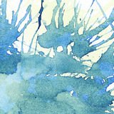 Blue, yellow watercolor stains, splashes. Abstract Royalty Free Stock Image