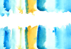 Blue and yellow watery frame . Abstract watercolor hand drawn illustration.Azure splash.White background Royalty Free Stock Image