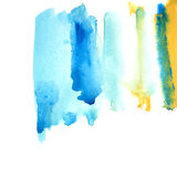Blue and yellow watery frame . Abstract watercolor hand drawn illustration.Azure splash.White background Stock Image
