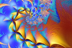 Waves and Fins Fractal. Blue and Yellow Waves and Fins Fractal Stock Photos