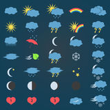 Blue and yellow weather icons set Royalty Free Stock Photo