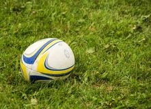 Blue, yellow, and white rugby ball sitting in green grass in Superior Wisconsin royalty free stock images