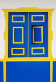 Blue and Yellow Wooen Window Stock Images