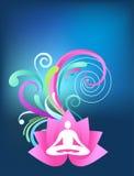 Blue yoga background. With lotus logo and splash pattern Royalty Free Stock Photo