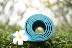 Blue yoga mat and a flower outdoor Royalty Free Stock Image