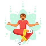 Blue Yoga pose man skill flat cartoon  illustration Stock Image