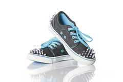 Blue young girl shoes with studs Royalty Free Stock Images