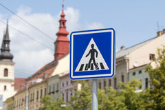 Blue zebra crossing sign in a city Royalty Free Stock Images