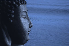 Blue Zen Buddha and Water Stock Image
