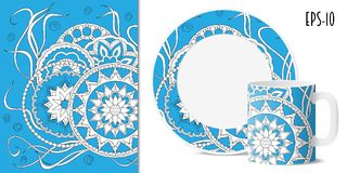 Blue zen floral pattern with mandalas for dishes. Hand drawn  pattern with mandalas in zen style for decorate kitchenware, cup, dishes, porcelain, stationery Royalty Free Stock Photography